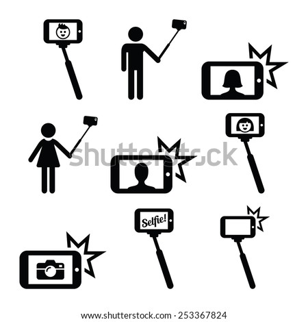 Selfie stick with mobile or cell phone icons set  - stock vector