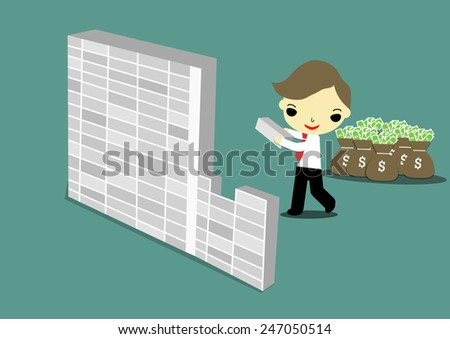 selfish businessman building the wall for hiding money. - stock vector