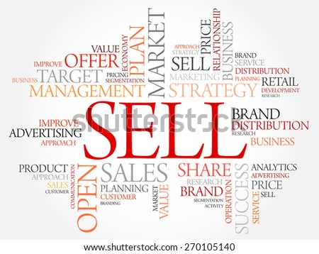 Sell word cloud, business concept - stock vector