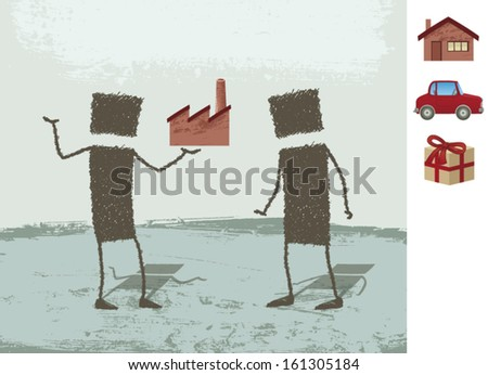 Seller. A salesman tries to convince his client. You can replace the factory drawing with other drawing of a house, a car or a gift. EPS8 Illustration. - stock vector