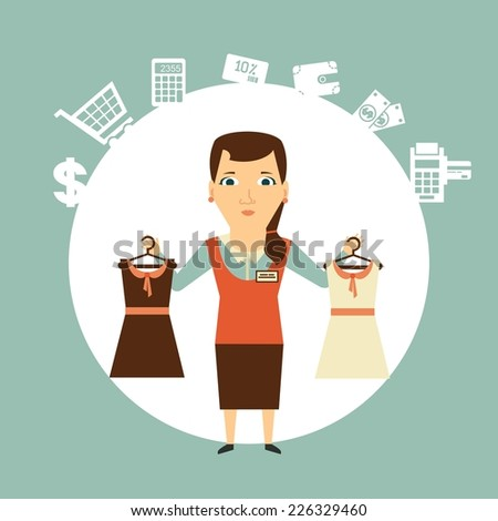 Seller offers clothing  illustration - stock vector