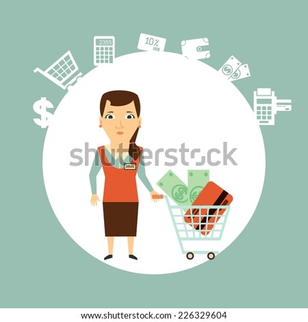 seller offers to pay in cash or card  illustration - stock vector