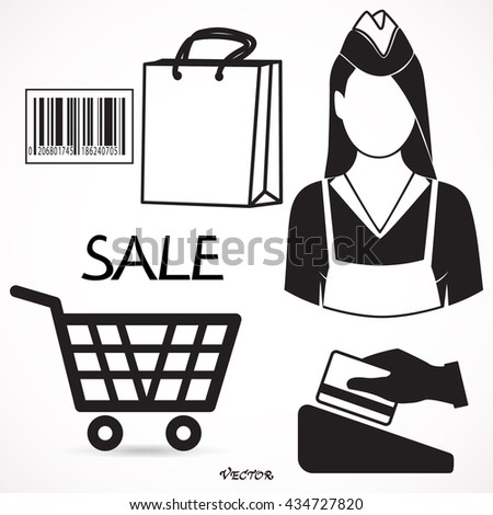 Seller profession and shopping icons of bag, till or cash register, credit card payment, bar code and bag of groceries around a female shop assistant - stock vector