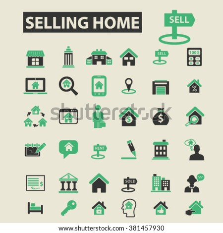 selling home icons, selling home logo, selling home vector, selling home flat illustration concept, selling home infographics, selling home symbols,   - stock vector