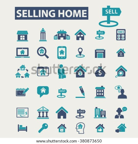 selling home, real estate icons - stock vector