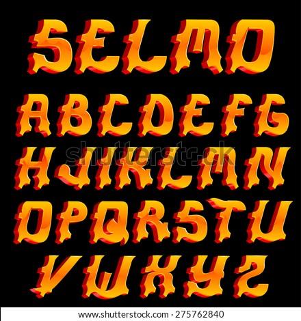 SELMO the original font 3d - stock vector