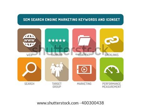 SEM Search Engine Marketing Flat Icon Set - stock vector