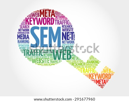 SEM - Search Engine Marketing Key word cloud, business concept - stock vector