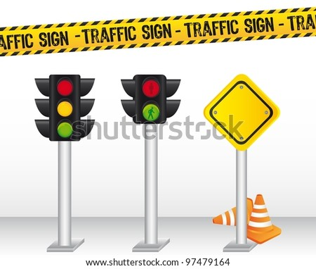 semaphore with traffic sign background. vector illustration