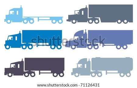 Semi articulated trucks or lorries - Automotive colorful vector silhouette illustration set - stock vector