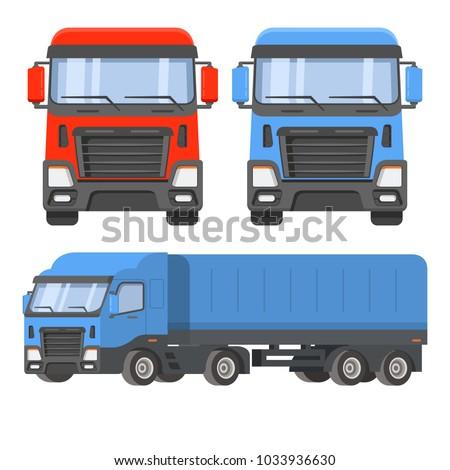Semitrailer Truck Front View Sideways Vehicle Stock Vector ...