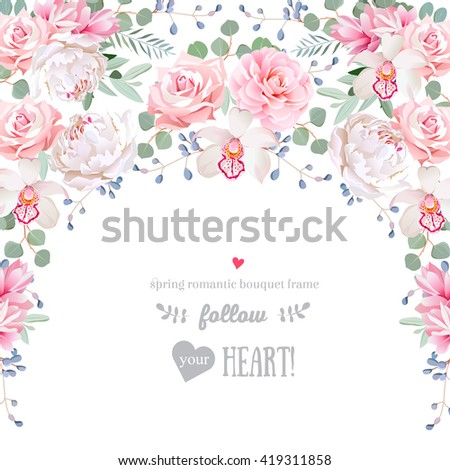 Semicircle garland frame with camellia, rose, peony, eucaliptus leaves and orchid. Cute wedding floral vector design.  - stock vector