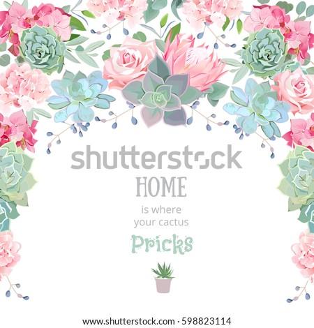 Semicircle Garland Frame Succulents Protea Rose Stock