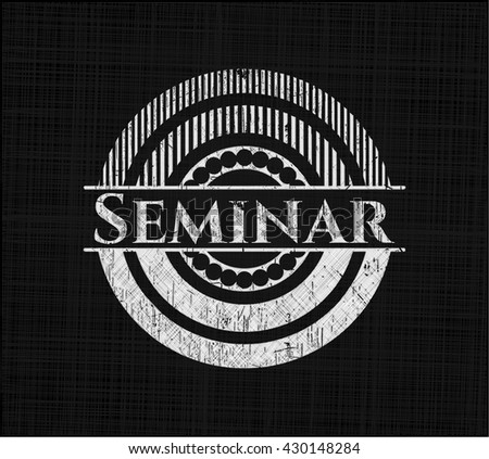 Seminar on blackboard - stock vector