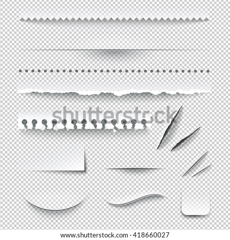 Semitransparent white paper checkered perforated ripped torn jagged cut edges texture samples set realistic shadows vector illustration - stock vector