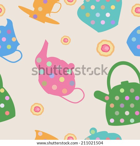 Semless pattern whith tea set. - stock vector