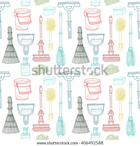 Semless pattern with cute hand drawn house cleaning tools. Vector cleaning collection - stock vector
