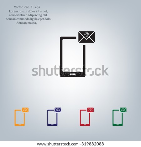 Send a letter icon, mobile phone and mail. Vector illustration - stock vector
