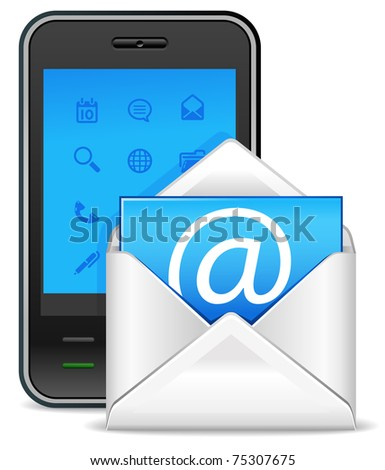 send a letter icon - mobile phone with new e-mail - stock vector