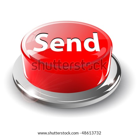 Send, mail button, 3d red glossy metallic, vector.