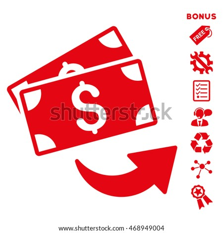 Send Money icon with bonus pictograms. Vector illustration style is flat iconic symbols, red color, white background, rounded angles.