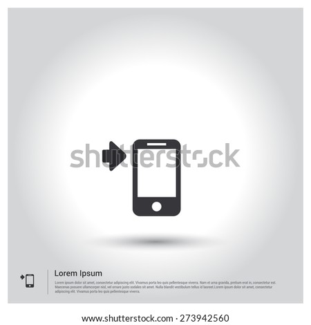 Send SMS from Mobile Icon, pictogram icon on gray background. Vector illustration for web site, mobile application. Simple flat metro design style. Outline Icon. Flat design style - stock vector