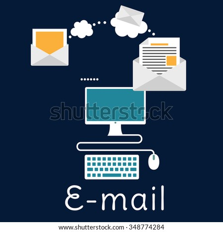 Sending and receiving e-mail by desktop computer with envelopes, monitor and keyboard. E-mail, marketing or mailing concept, flat style - stock vector