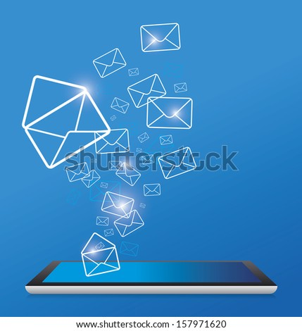 Sending email by digital tablet