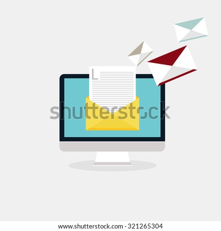 Sending emails and receiving mail. Email advertising, direct digital marketing. Flat design style modern vector illustration concept. - stock vector