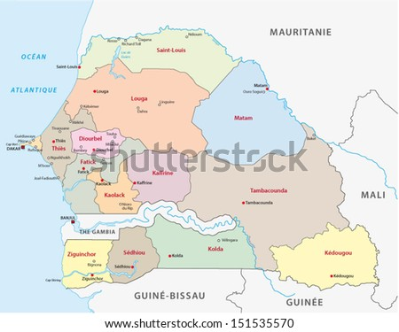 senegal administrative map - stock vector