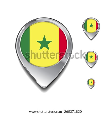 Senegal flag map pointer. 3d Map Pointer with flag glossy button style on gray background - stock vector