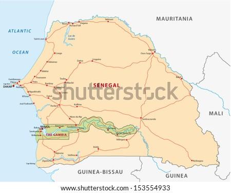 Senegalgambia Road Map Stock Vector 153554933 Shutterstock