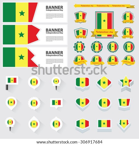 senegal independence day, infographic, and label Set.