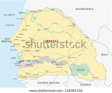 Senegal Map Stock Vector Shutterstock - Senegal map