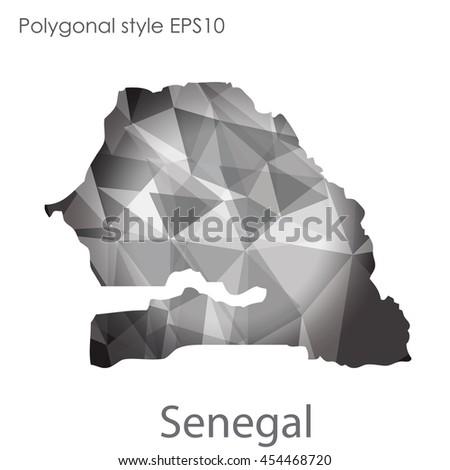 Senegal Map Geometric Polygonal Styleabstract Gems Stock Vector - Senegal map vector
