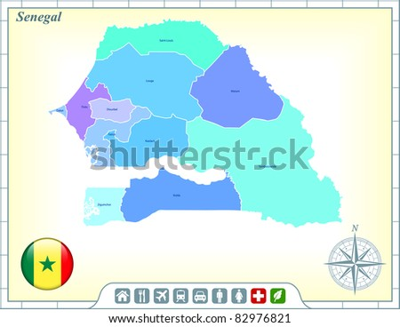 Senegal Map with Flag Buttons and Assistance & Activates Icons Original Illustration - stock vector