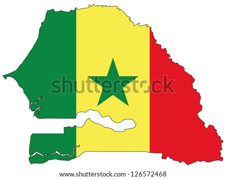 Senegal vector map with the flag inside.
