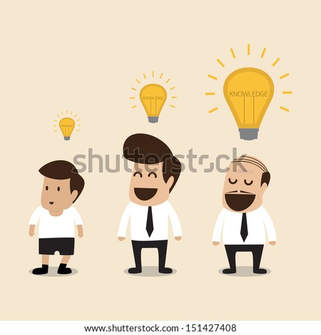 Senior adviser give an idea to young businessman - stock vector