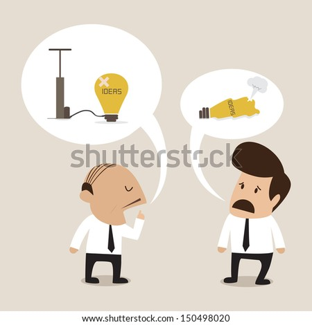 Senior advisor suggest employee to manage problem - stock vector