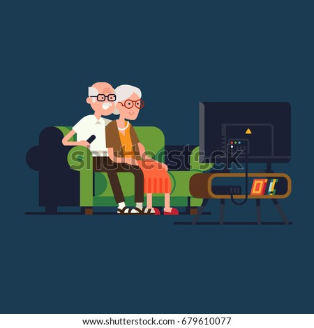 Senior age couple watching TV. Cool vector flat design illustration on elderly couple enjoying their evening together on sofa watching favorite TV show. Old man and woman watching television