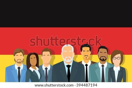 Senior Businessmen Group of Business People Team Over German Flag Flat Vector Illustration - stock vector