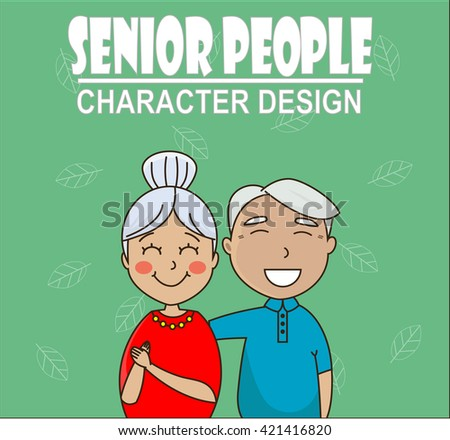 senior couple hugging and smiling. Grandfather and grandmother. Concept of pensions, social insurance, benefits, care for the elderly - stock vector