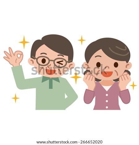 Senior couple rejoice - stock vector