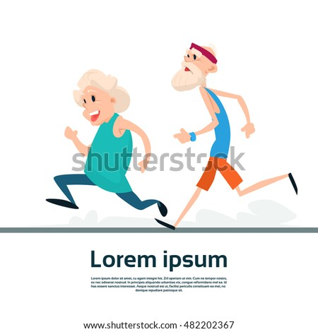 Senior Couple Running Old Man Woman Joggers Sport Fitness Exercise Workout Flat Vector Illustration