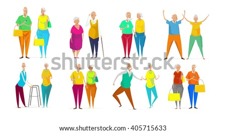 Senior couple vector illustration on yellow background. Cute cartoon old characters walking, dancing, exercising, shopping. Flat style funny senior persons. Elegant man and woman. Stock vector.