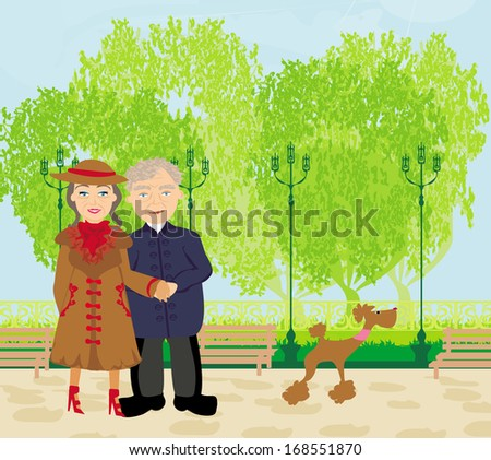 Senior couple walking in sunny day with a dog - stock vector