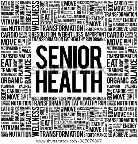 Senior health word cloud background, health concept