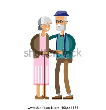 Senior lady and gentleman with silver hair walking together arm-in-arm. Old age couple. Flat style vector illustration isolated on white background. - stock vector