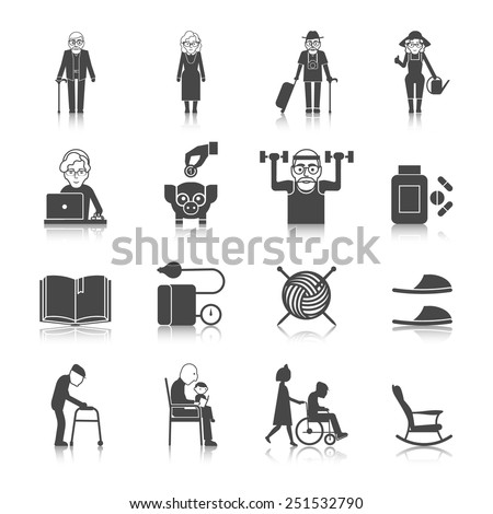 Senior lifestyle black icons set with old people with walkers glasses wheelchair isolated vector illustration - stock vector