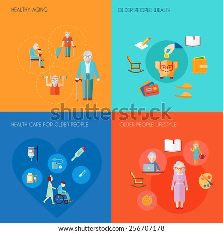 Senior lifestyle design concept set with healthy aging older people wealth old people health care flat icons isolated vector illustration - stock vector